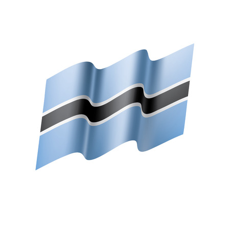 Botswana flag illustration on white background.