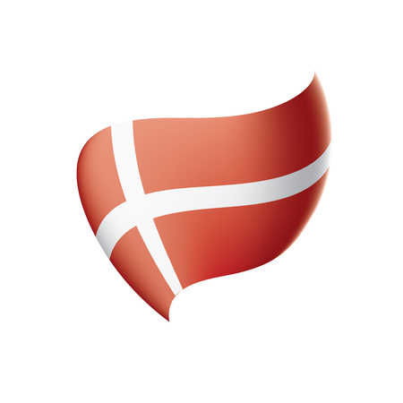 Denmark flag, vector illustration on a white background