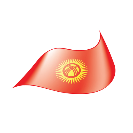Kirghizia flag, vector illustration on a white background Illustration