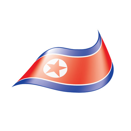 North Korea flag, vector illustration on a white background