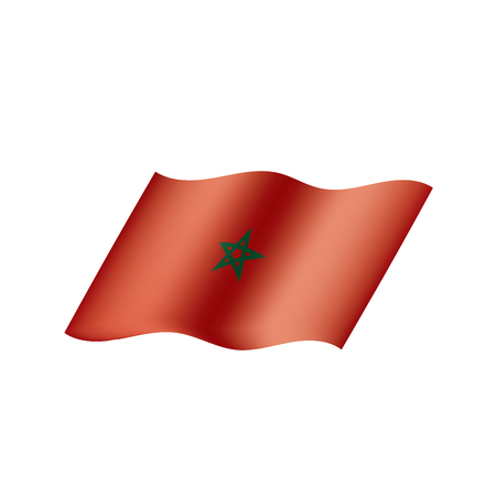 Morocco flag on white background, vector illustration.