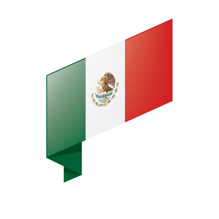 Mexican flag on white background, vector illustration.