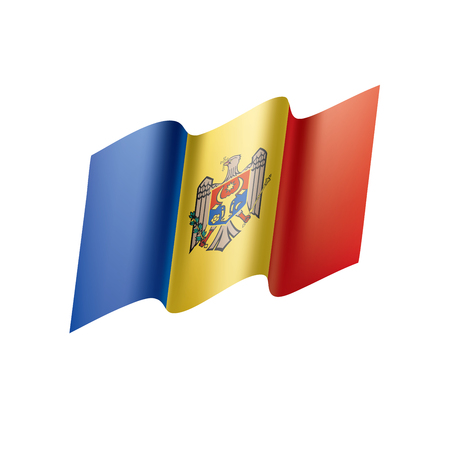 Moldova flag on white background, vector illustration.
