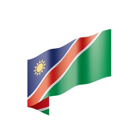 Vlag van Namibië, vectorillustratie op een witte achtergrond