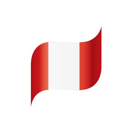 Peru flag, vector illustration isolated on white