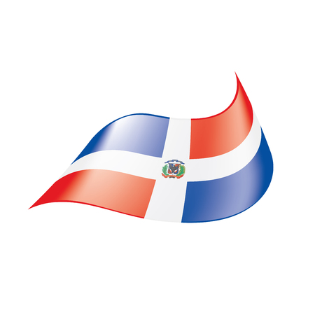 Dominican flag on white background, vector illustration. Ilustração