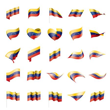 Venezuela flag set on white background, vector illustration.