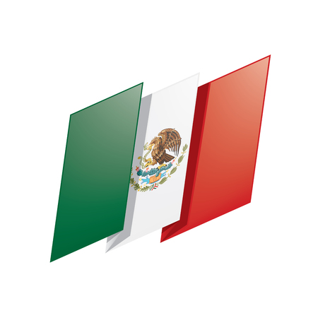 Mexican flag, vector illustration isolated on plain background.