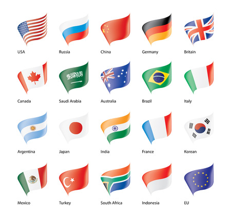 set of flags of the G20 Vector illustration.
