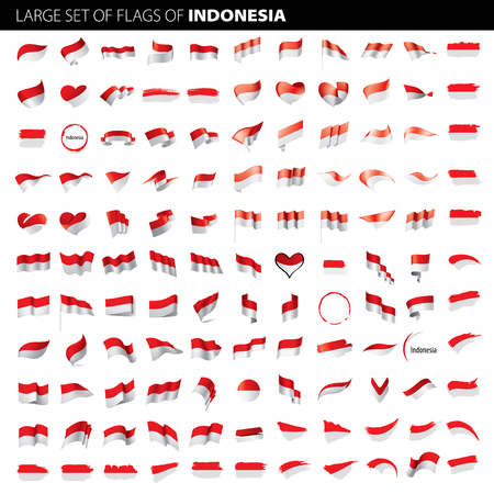 Indonesia flag, vector illustration on a white background. Big set