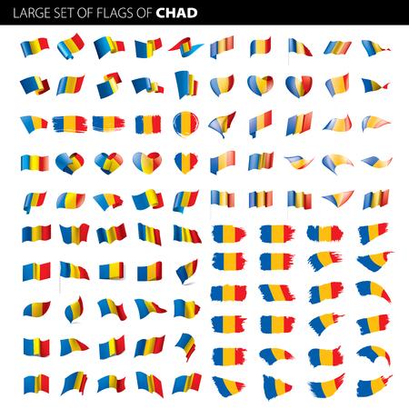 Chad flag, vector illustration on a white background. Big set Vettoriali