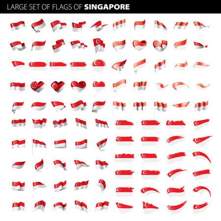 Singapore flag, vector illustration on a white background. Big set