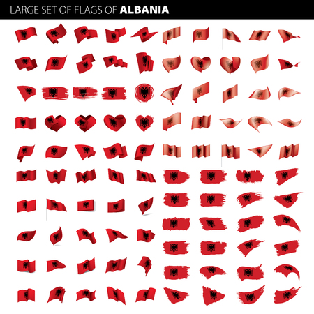 Albania flag, vector illustration on a white background. Big set