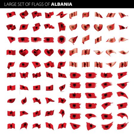 Albania flag, vector illustration on a white background. Big set
