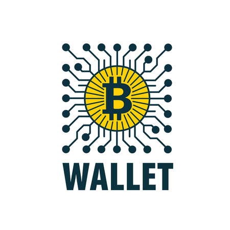 Vector bitcoin wallet illustration on white background. Illustration