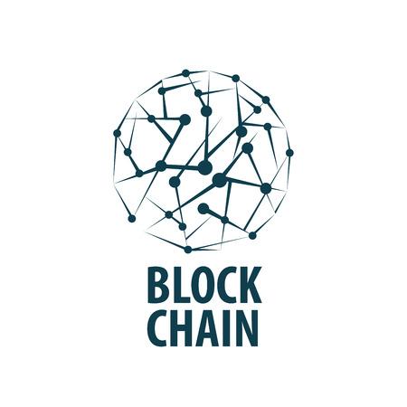 Vector logo blockchain. Abstract technological sign. Design element Çizim