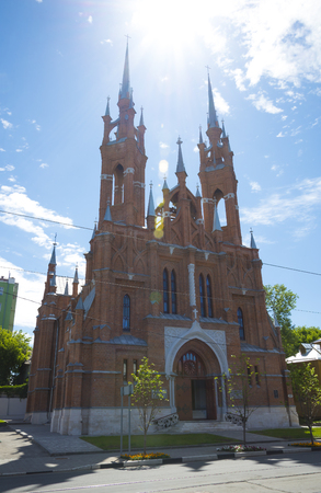 Red brick Church of the heart of Jesus in Samara, Russia. On a Sunny summer day. 17 June 2018
