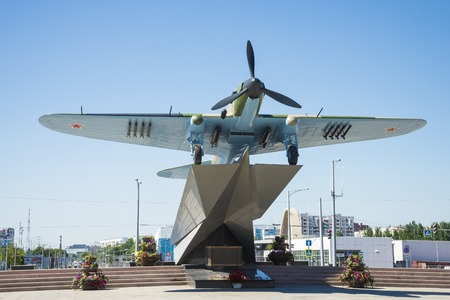 Monument to the Il-2, who fought in world war II and installed in Samara Russia. On a Sunny summer day. June 23, 2018