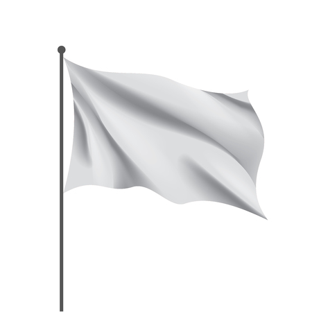 Waving the white flag on a white background. Vector illustration Çizim