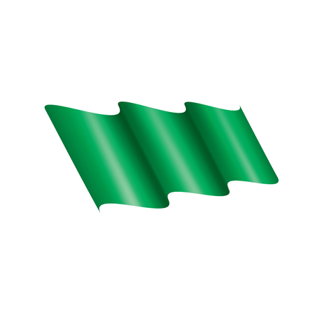 Waving the green flag on a white background. Vector illustration