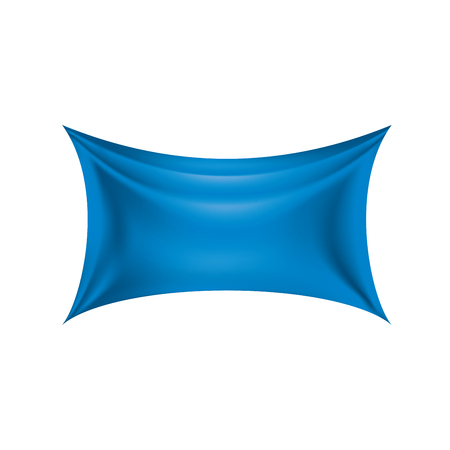 Waving the blue flag on a white background. Vector illustration