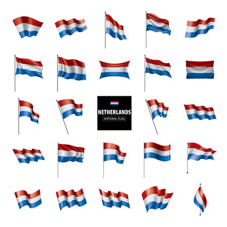 Bandiera olandese, illustrazione vettoriale su sfondo bianco