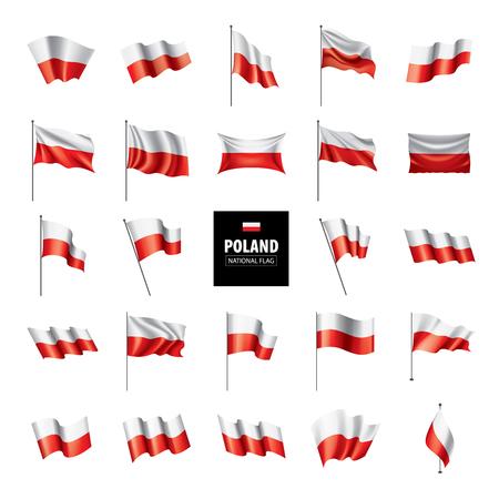 Polska flaga, wektorowa ilustracja na białym tle