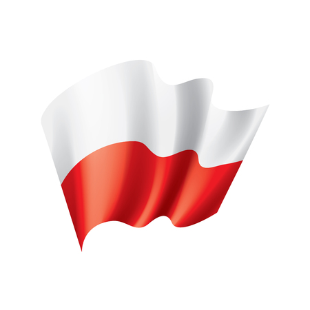 Poland flag, vector illustration on a white background Stock Illustratie