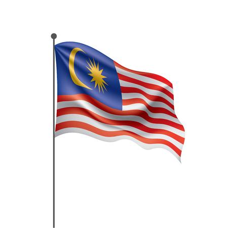 Bandera de Malasia, ilustración vectorial sobre un fondo blanco.