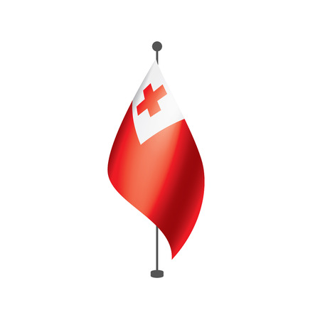 Tonga flag, vector illustration on a white background