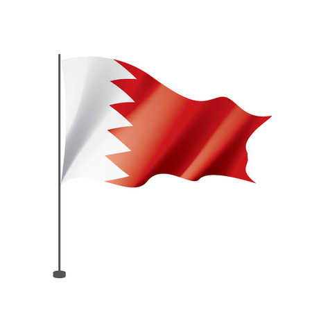 Bahrain flag, vector illustration on a white background