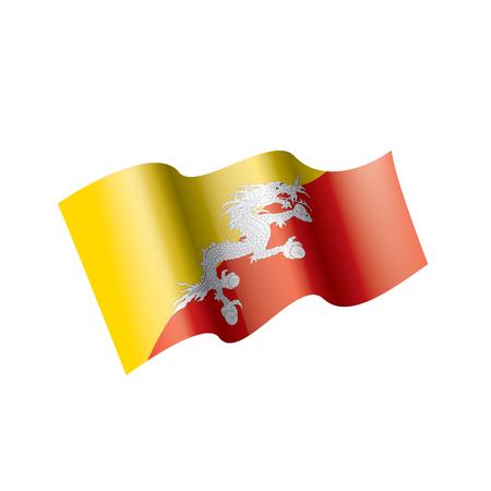 Bandera de Bután, ilustración vectorial sobre un fondo blanco.