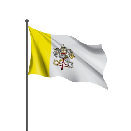 Bandera nacional del Vaticano, ilustración vectorial sobre un fondo blanco.