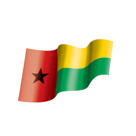Guinea Bissau national flag, vector illustration on a white background