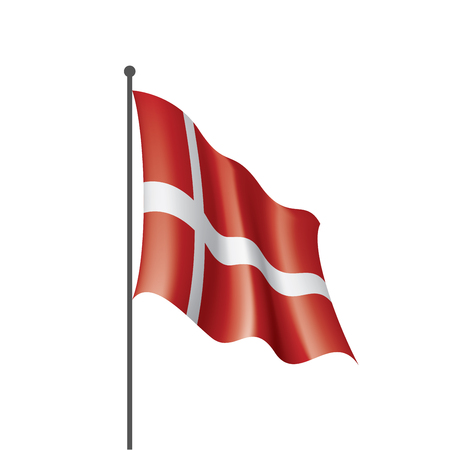 Denmark national flag, vector illustration on a white background