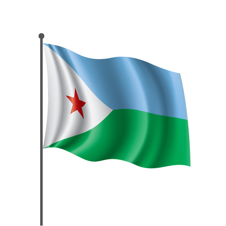 Djibouti national flag, vector illustration on a white background
