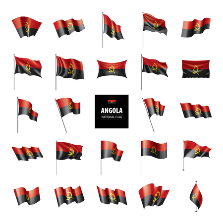 Angola flag, vector illustration on a white background Stock Photo