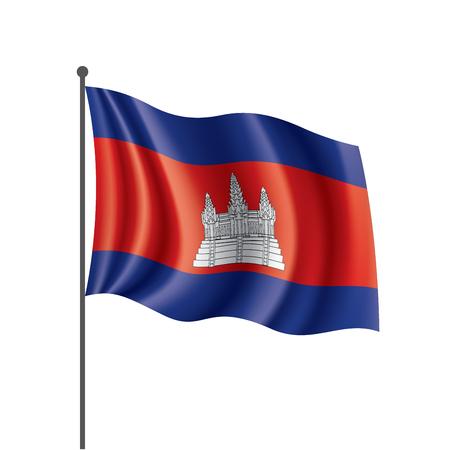Drapeau du Cambodge, illustration vectorielle sur fond blanc Vecteurs