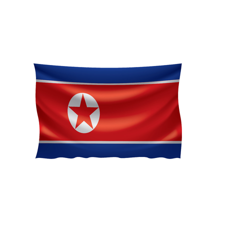 North Korea national flag, vector illustration on a white background