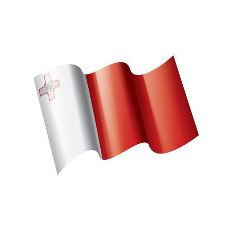 Malta national flag, vector illustration on a white background