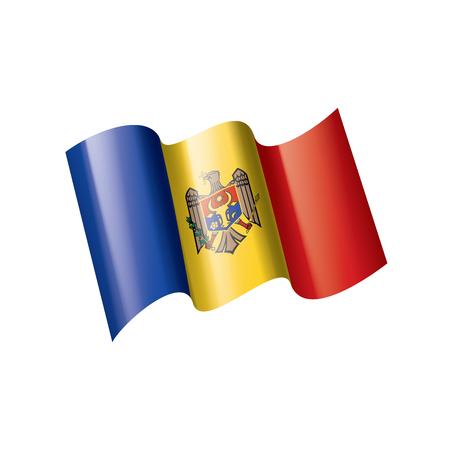 Bandera nacional de Moldavia, ilustración vectorial sobre un fondo blanco.