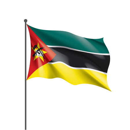 Mozambique national flag, vector illustration on a white background