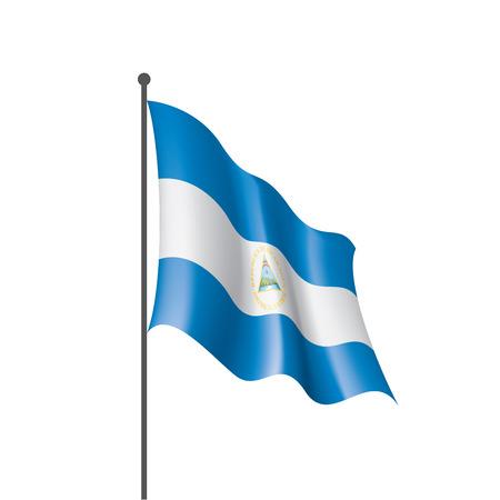 Nicaragua national flag, vector illustration on a white background
