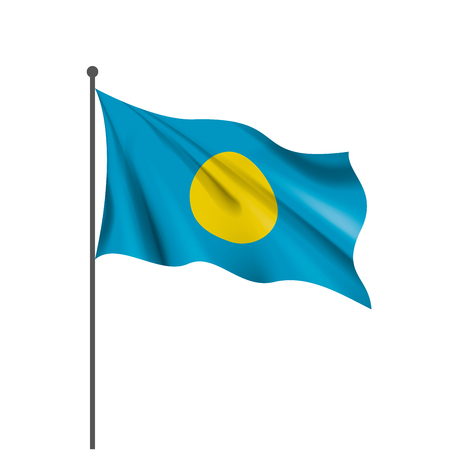 Palau national flag, vector illustration on a white background