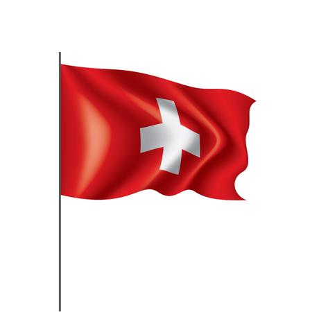 Schweizer Nationalflagge, Vektorillustration auf weißem Hintergrund