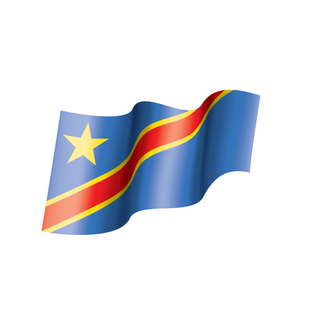 Democratic Republic of the Congo national flag, vector illustration on a white background Vetores