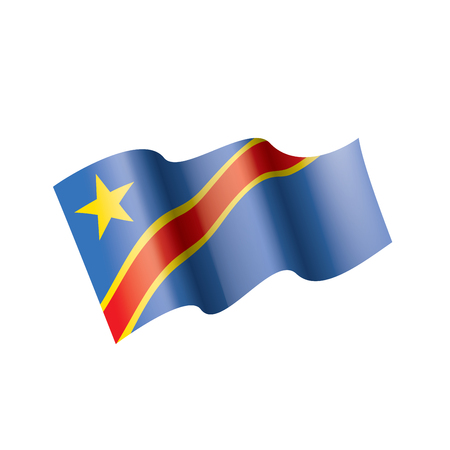 Democratic Republic of the Congo national flag, vector illustration on a white background Illusztráció