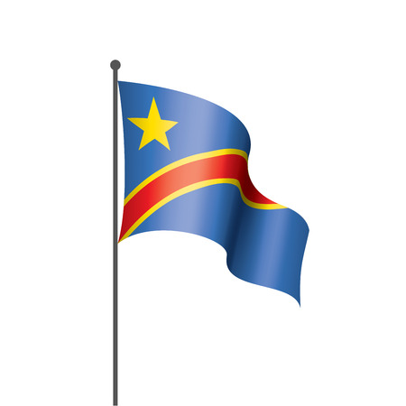 Democratic Republic of the Congo national flag, vector illustration on a white background Illustration