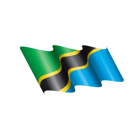 Tansania Nationalflagge, Vektorillustration auf einem weißen Hintergrund Vektorgrafik