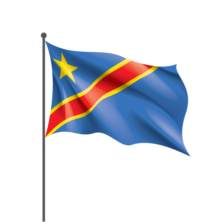 Democratic Republic of the Congo national flag, vector illustration on a white background 일러스트